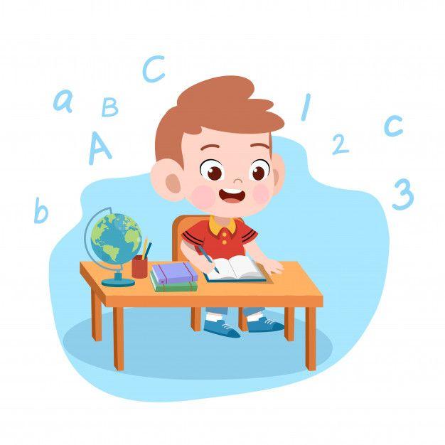 Kid Boy Study Illustration in 2020 Children illustration Illustration Vector illustration