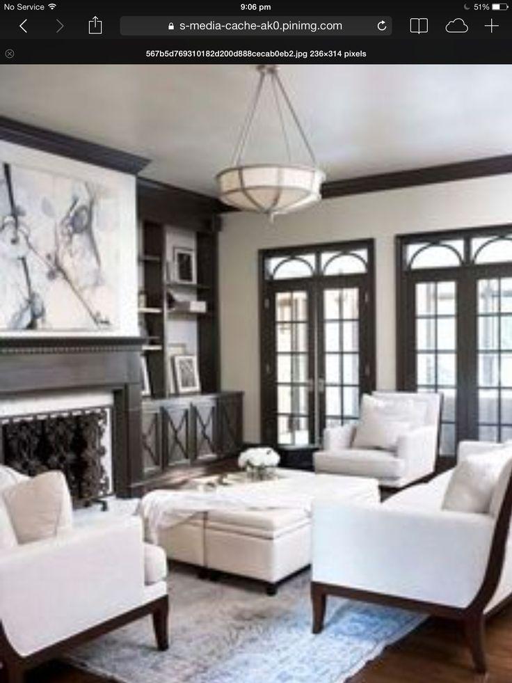 Taupe walls black windows dark wood flooring | StylishHome ...