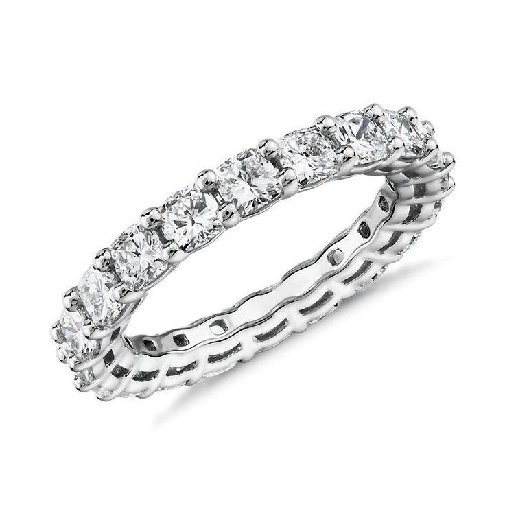 Cushion Cut Diamond Eternity Ring Platinum (3.0 ct. tw.), Platinum Diamond