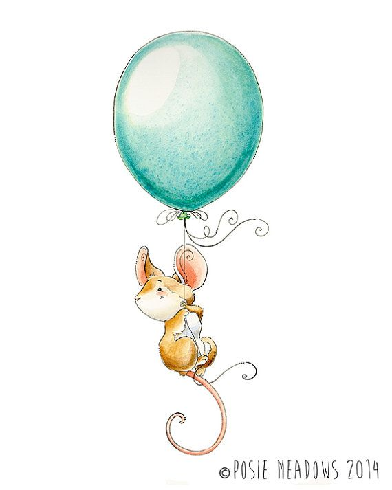 Child Mouse Artwork, Woodland Animal, Nursery Decor, Nursery Artwork, Watercolour Nursery, Gender Reveal Print, Cute Mouse Artwork, Mouse with Balloon