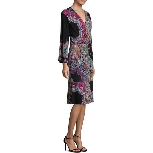 Etro Jungle Paisley-Print Dress (€2.385) ❤ liked on Polyvore featuring dresses, long sleeve v neck dress, long sleeve dress, paisley dress, long sleeve paisley dress and v neck dress