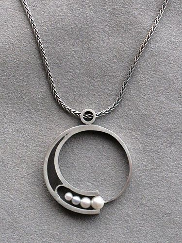 Pendant, silver and ebony with pearls by George Brooks