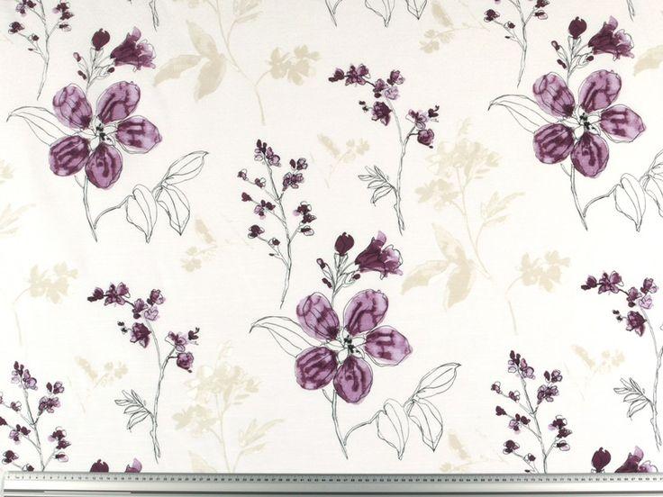 Tessutodecorativo pluriuso, di alta qualità,confiori stilizzati, ideale per decorazione etende                n°   articolo:    LO-0324-2     colore:   viola     larghezza:    circa...