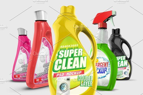 Laundry Detergent Bottle Psd Mockups With Images Detergent