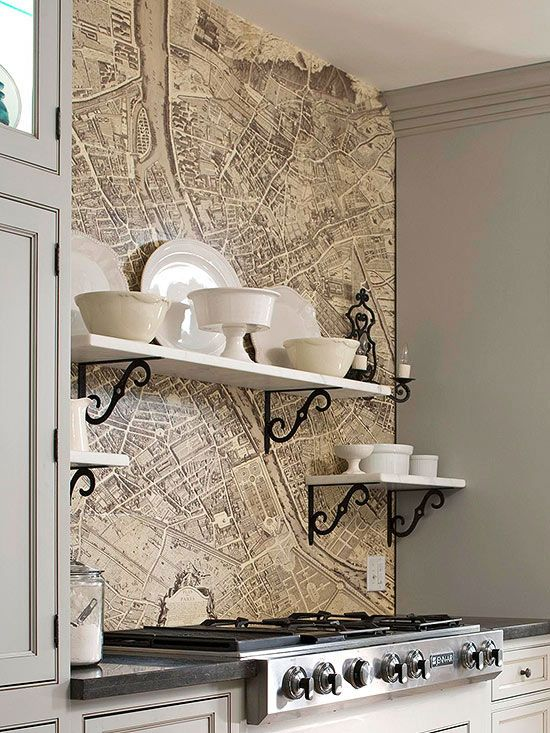 Make a splash with an old map. Protect it with plexiglass, so that cleanup is a breeze. Display well loved serving dishes above the stove on open shelves. Practical, pretty, and packed with punch. Home. Style.