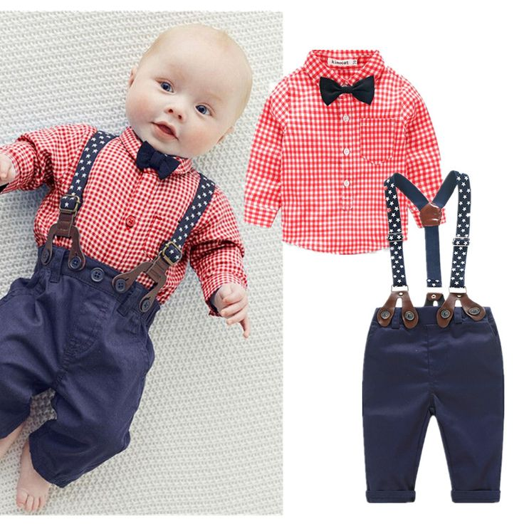 Baby Boy Blue Plaid Shirt with Bow, Suspenders and Pants