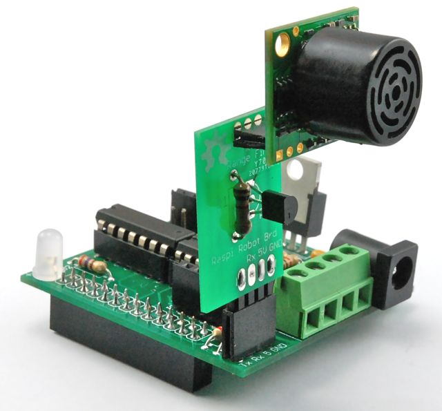 The RaspiRobotBoard is an expansion board for the Raspberry Pi that gives you everything you need to turn the Raspberry Pi into a robot controller