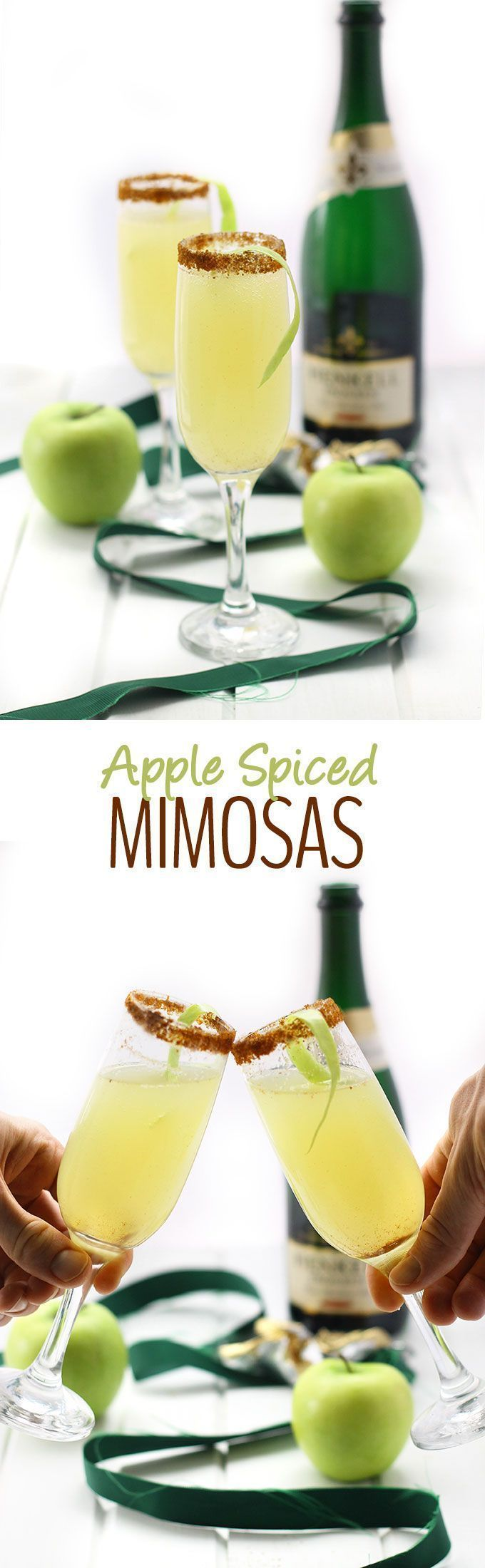 a festive cocktail recipe for New Years, brunch or your next dinner party, these Apple Spiced Mimosas will please any crowd! Plus they're super easy.