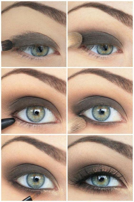 maquillage pour les yeux verts en marron et or:                              …