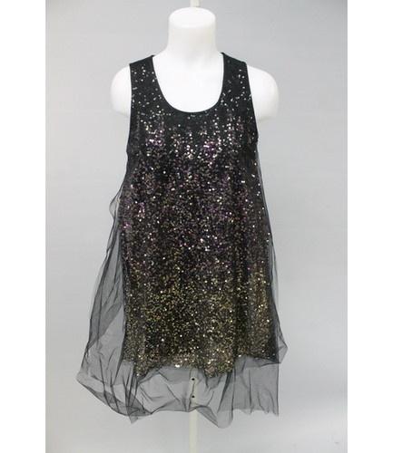 Givenchy Black Sequined Tulle Overlay Sleeveless Top Sz M $820 Jill Zarin   eBay