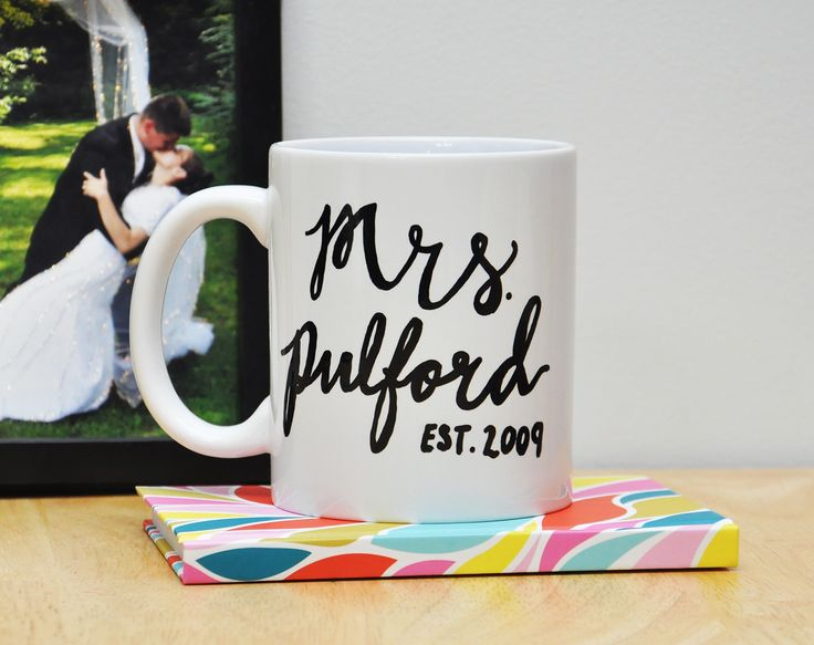 11oz Est Mrs Custom Proud Wife Script Lettered Mug by Hello Awesome