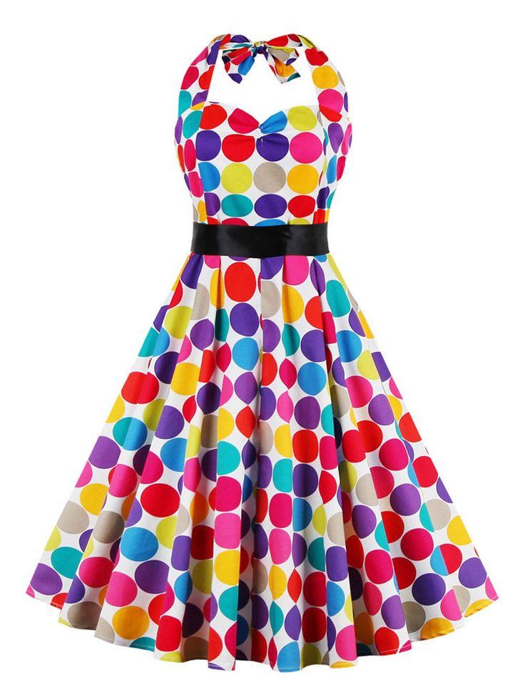 Retro Halter Sweetheart Neck Polk Dot Colorful Dress