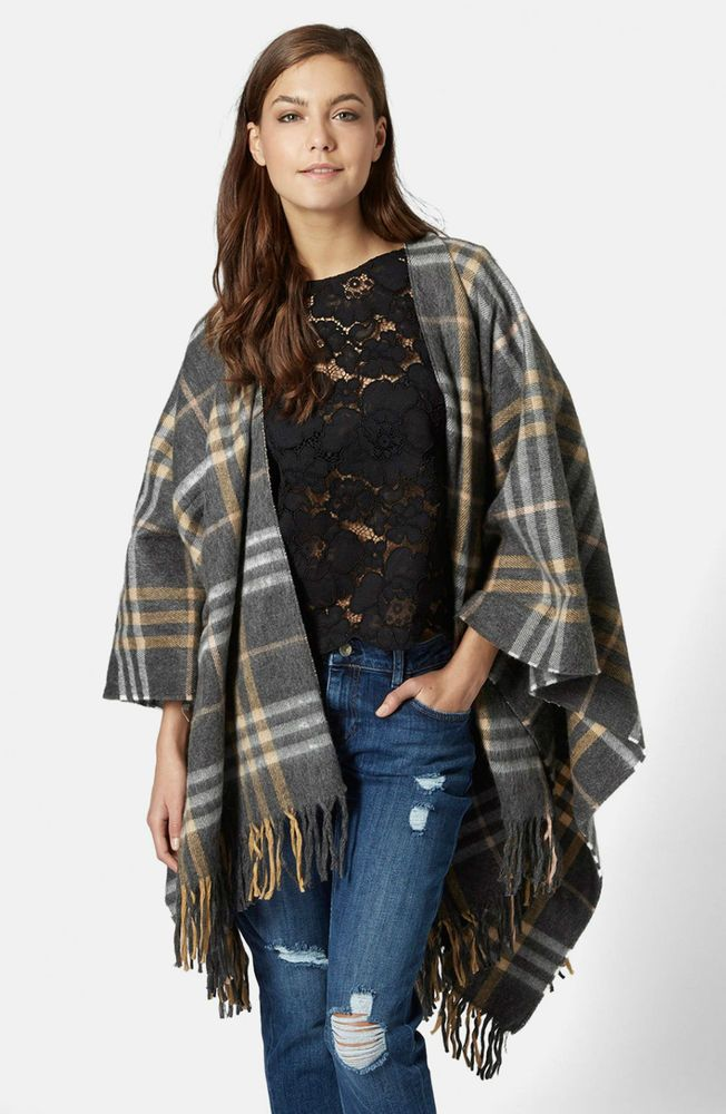 NEW Topshop Grey Checked Cape Poncho Jacket ONE SIZE