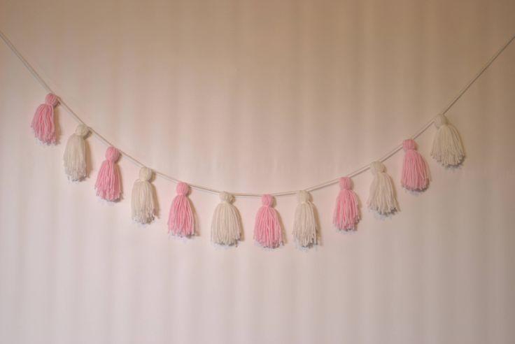 Mini tassel garland,  pink white yarn tassel garland, tassel banner, mini yarn tassel hanging, shower gift, nursery decor, baby girl nursery by pamelasunshinedesign on Etsy