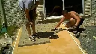 Paver Patio Installation - Fast motion - YouTube