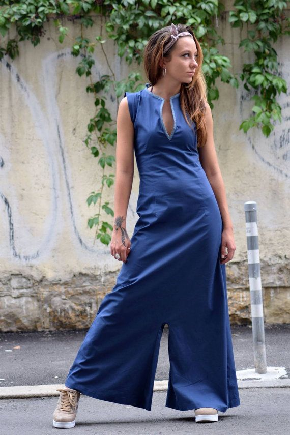 Blue Harem Jumpsuit / Long Women Overall / Harem Pants / Womens Romper / Yoga Pants / Womens Jumper / Palazzo Jumpsuit / Maxi Dress / Onesie