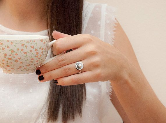 Spiral Ring Elegant Proposal Ring Freshwater Pearl by MelioJewels