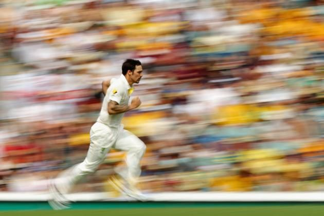 Mitchell Johnson of Australia bowls during day two of the First Ashes Test match between Australia and England at The Gabba on November 22, 2013 in Brisbane, Australia.