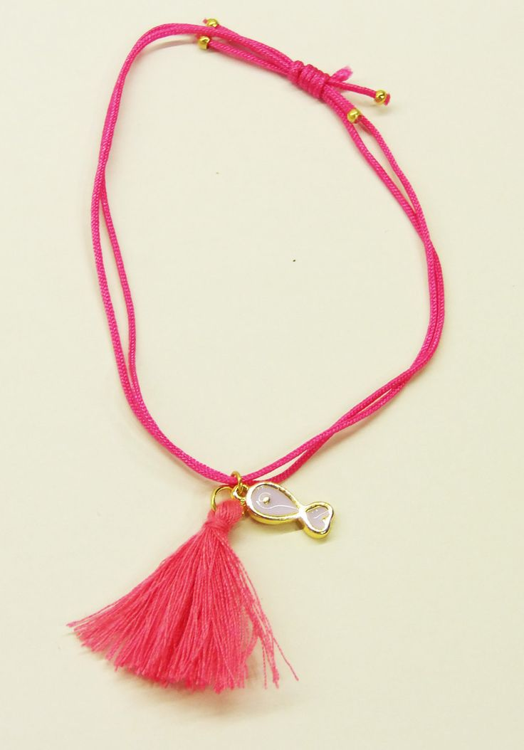 Handmade bracelet/rose leather/rose tassel/base metal fish charm/gold plated/24 carats/rose enamel by CrownedCharm on Etsy