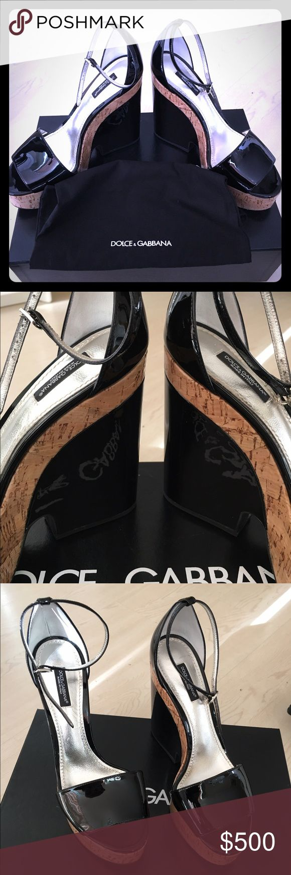 Dolce & Gabbana Zeppe + Sughero Wedges Perfect fun elegance for summertime! Authentic Dolce & Gabbana wedges. Black patent with cork accents. Never worn. Pristine condition. Fair offers will be accepted. Dolce & Gabbana Shoes Wedges
