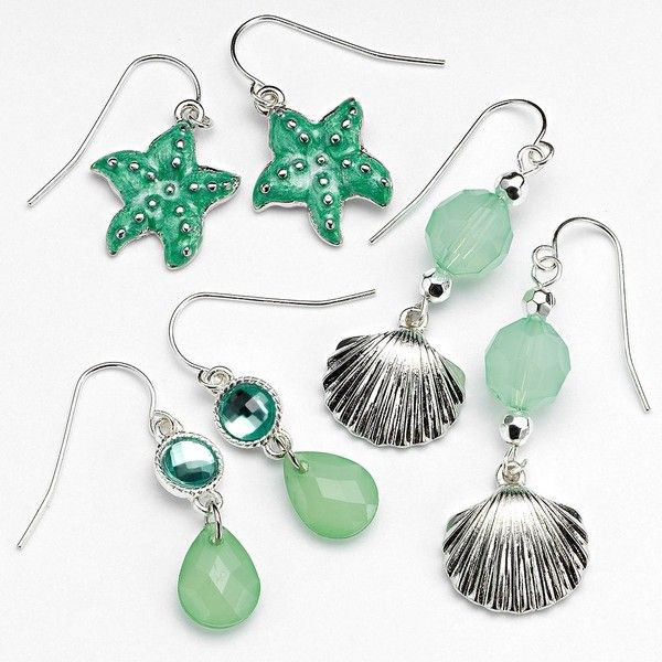 Croft & Barrow® Silver Tone Simulated Crystal & Bead Starfish &... ($9.10) ❤ liked on Polyvore featuring jewelry, earrings, star fish earrings, artificial earrings, fish hook earrings, fake earrings and shell earrings