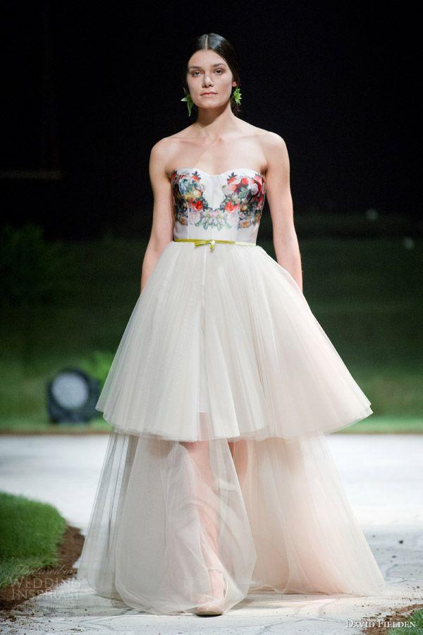david fielden 2015 bridal 8375 strapless ball gown wedding dress floral print bodice
