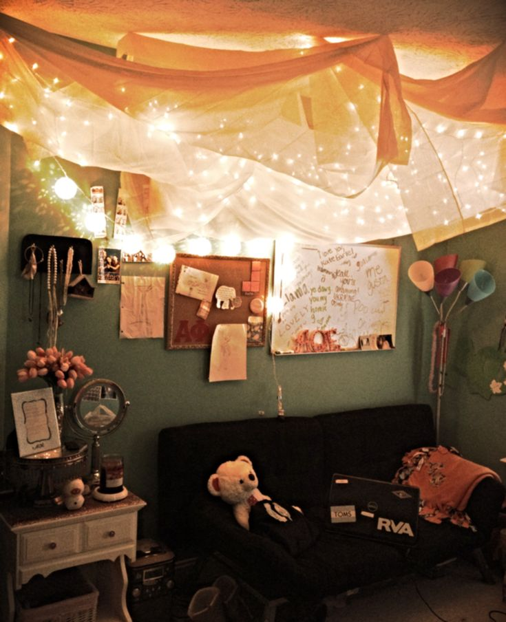 Dorm Safe String Lights : String lights and sheer fabric hung from the ceiling! :) Room decor Pinterest Sheer ...