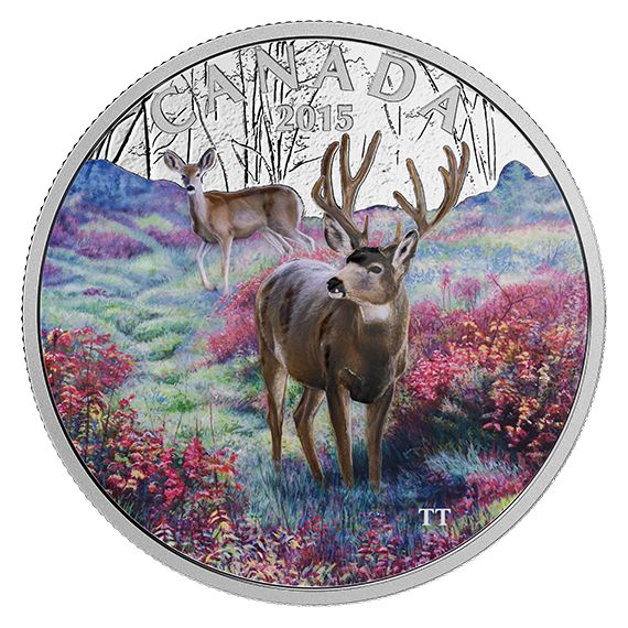 1 oz. Fine Silver Coloured Coin – Misty Morning Mule Deer – Mintage: 6,500 (2015)