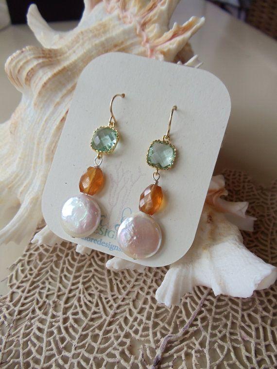 SUNRISE Earrings gemstone earrings carnelian by SeaLoreDesigns