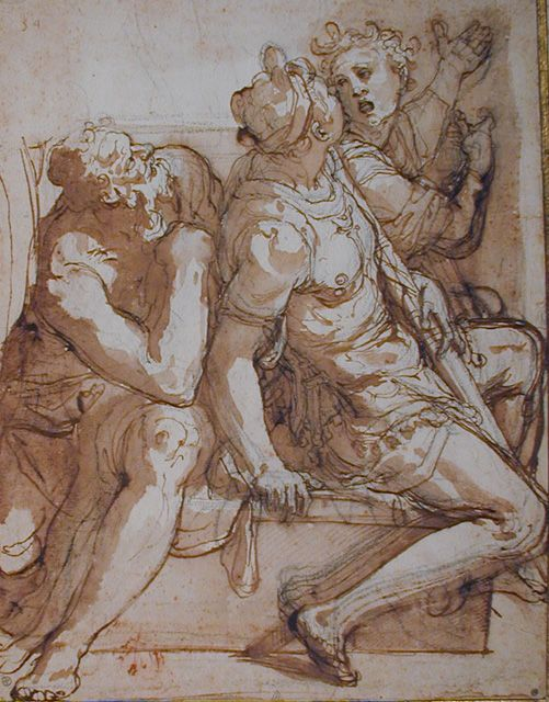 Federico Zuccaro (1540/42 - 1609)   Composition of three male Figures.  Pen and brown wash over black chalk on off-white paper. Sheet: 291 x 224 mm.