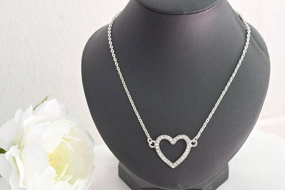 Clear Heart Necklace  Rhinestone Necklace  Crystal Jewelry