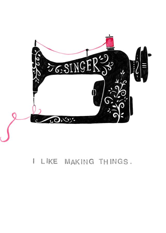 I ike making things sewing machine greeting card or wall print