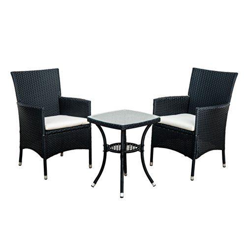 Outsunny Garden Outdoor Rattan Furniture Bistro Set Patio Weave Companion Chair Table Set Conservatory Fire Retardant Sponge (Black)