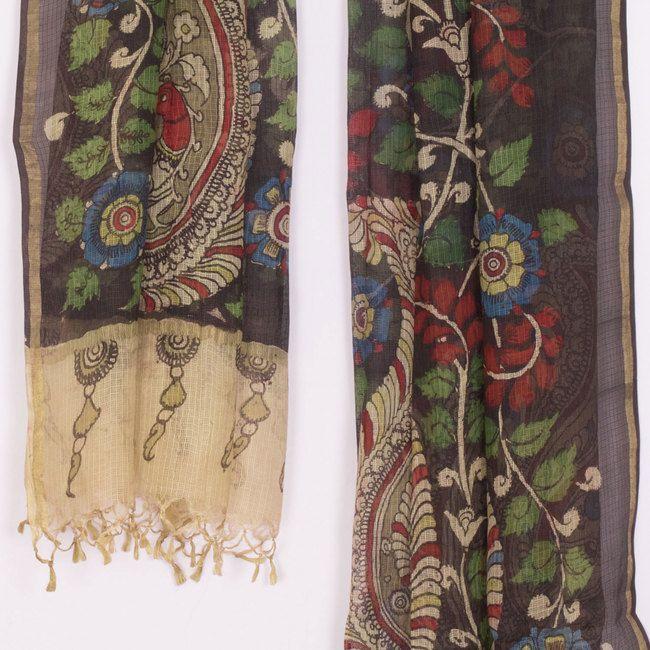 Hand Painted Kalamkari Kota Silk Dupatta With Zari Border & Floral Motifs 10016452 - AVISHYA.COM