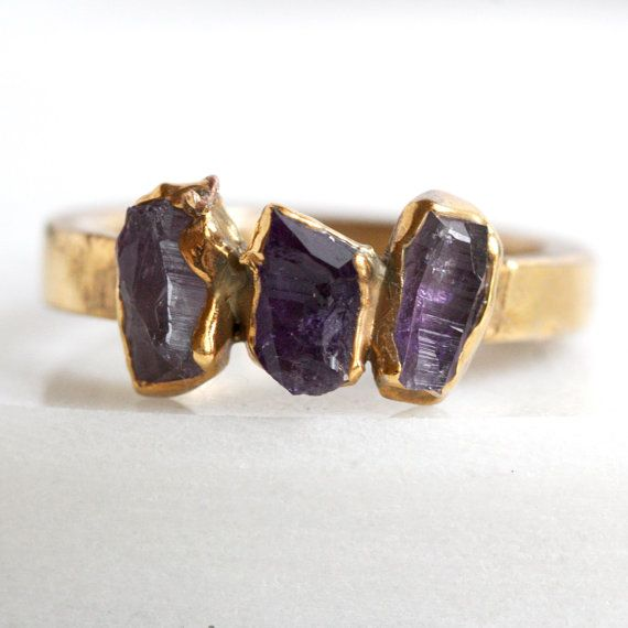 amethyst ring / stacking ring / stackable stone by DANIBARBEshop