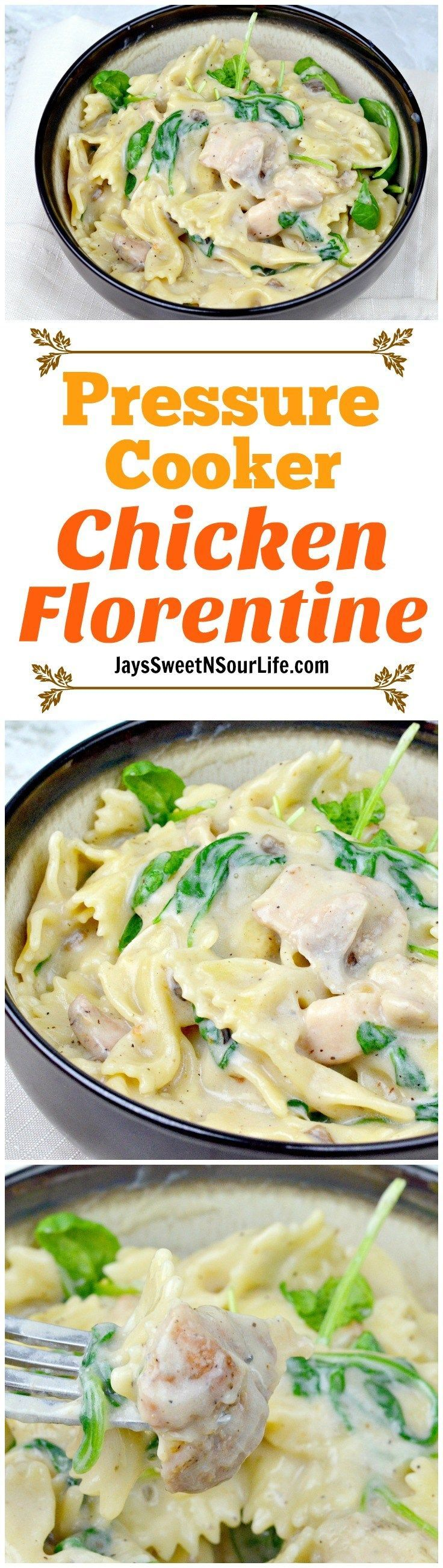 Try this one pot Pressure Cooker Chicken Florentine for your next family meal. Enjoy it fresh with a slice of garlic bread.