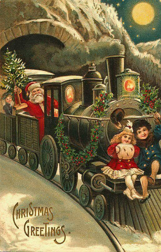 The Santa Express is on its way. ~~ Vintage Greeting Card