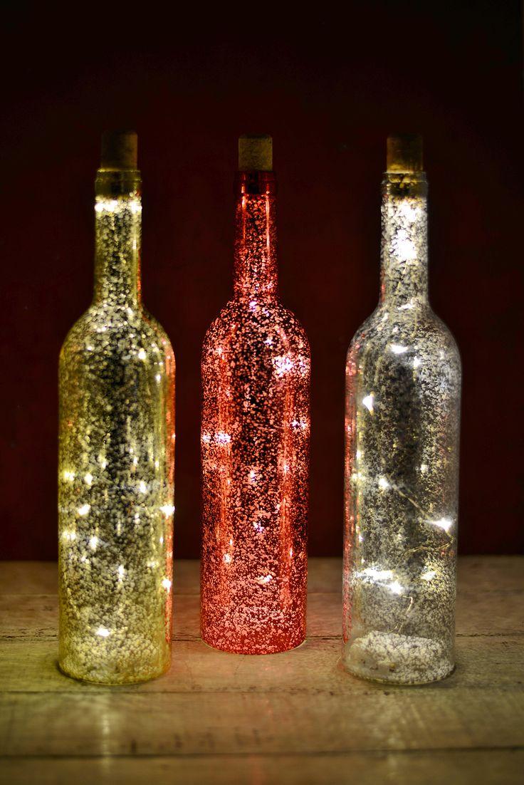 3 Led Lighted Wine Bottles Battery Operated Bottle