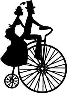 View Design: couple on vintage bicycle