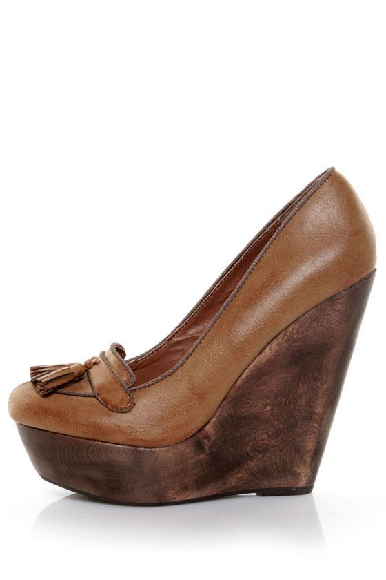 bf3fff46d19 Some loafers aren t for just loafin  around  one look at the Angeles Lola  Tan Tassel Platform Wedge Loafers and you ll want to take her out on the  town!