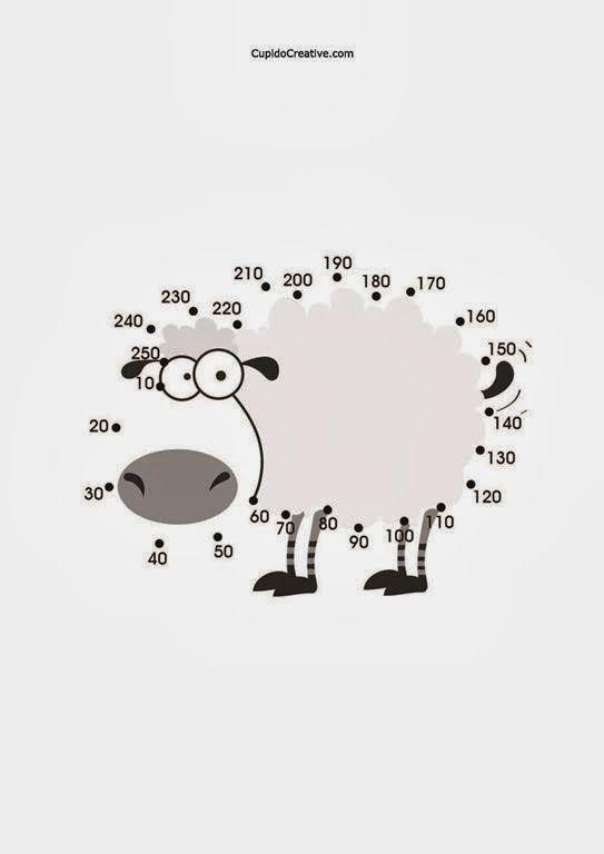 belajar menghitung anak SD, angka/bilangan kelipatan 10, mewarnai gambar domba