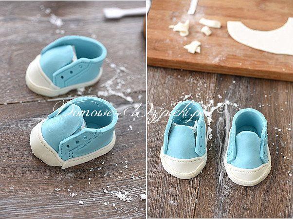 Buciki Na Tort Z Masy Cukrowej Recipe Baby Boy Cakes Baby Shoes Baby Party