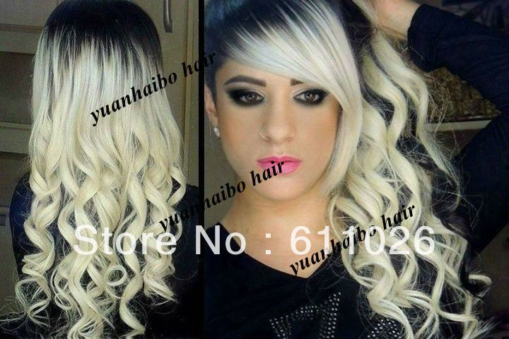 1b/60# white color platinum blonde ombre with dark root ...