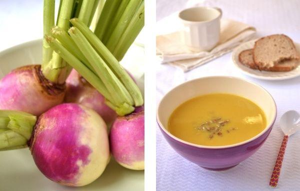 raapjessoep: Stoof 1 ui glazig. Voeg 1 aardappel, 1 wortel en 250g raapjes toe en laat, met het deksel op de pan, ongeveer 10 minuten stoven. Voeg 1à2 tl kerriepoeder toe en roer het goed door de groenten. Giet 60ml bouillon over de groenten, breng aan de kook en laat koken tot de groenten gaar zijn. Pureer, roer room erdoor en breng op smaak met pezo. Rooster de zonnebloempitten in een droge koekenpan goudbruin en gebruik ze om de soep te garneren.
