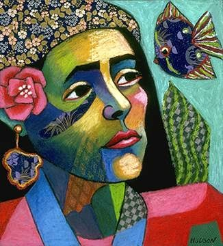 I love the colors! This artist is named Sharon Hudson. I think there is some definite latin american influence here!