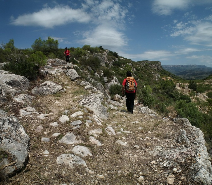 Walking along ancient bridle paths used by the winemakers and their donkeys in Priorat, southern Catalonia