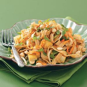 Vegetable Pad Thai - for low Fodmaps: use coconut aminos (if SF), Asian Rice noodles (gf), lean cooked chicken (instead of tofu if SF), eliminate or significantly reduce snow peas, eliminate garlic, add chopped red pepper, add another low Fodmaps stir-fry veggie.  Use tops of green onions only.  For enhanced flavor, add a small amount of dried red pepper flakes.