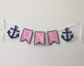 One with Anchors High Chair Banner 1st Birthday by HoneygoDesigns