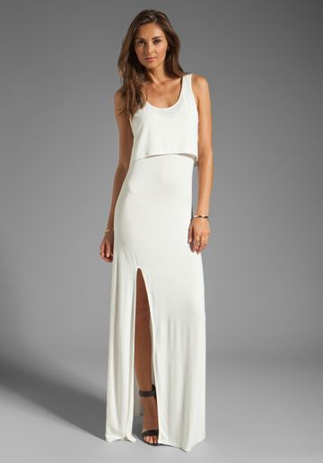 LOVERS + FRIENDS Hello Goodbye Maxi Tank Dress with Slit in White - Dresses