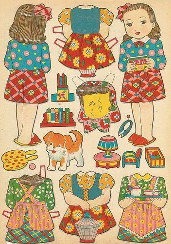 Japanese Family paper dolls / flickr.